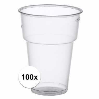 100x wegwerp bierglazen