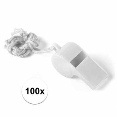 100x wit fluitje aan koord