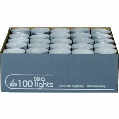 100x witte theelichtjes/waxinelichtjes 5 branduren