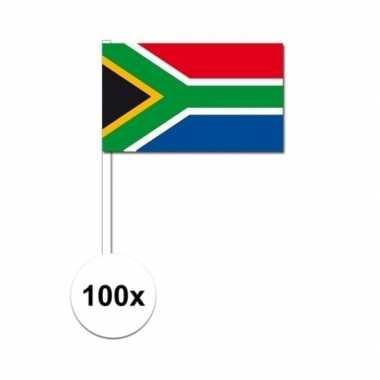 100x zuid afrikaanse zwaaivlaggetjes 12 x 24 cm