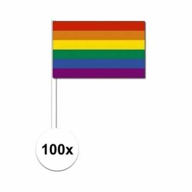 100x zwaaivlaggetjes met regenboog 12 x 24 cm