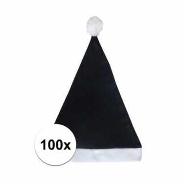 100x zwarte voordelige kerstmuts voor volwassenen