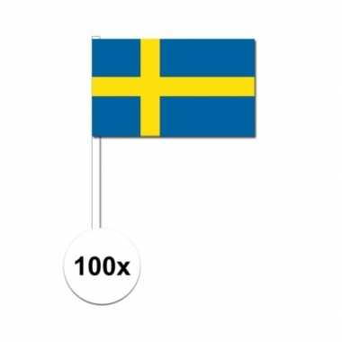 100x zweedse zwaaivlaggetjes 12 x 24 cm