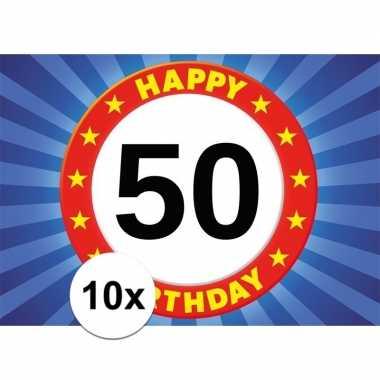 10x 50 jaar stopbord thema stickers 7,5 x 10,5 cm