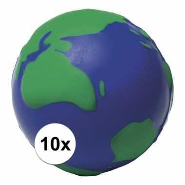 10x anti-stressballen wereldbol 6,5 cm