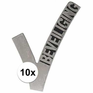 10x beveiligingslogo broche 6,5 cm