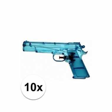10x blauwe kleine waterpistooltjes 20 cm