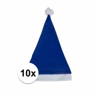 10x blauwe voordelige kerstmuts voor volwassenen
