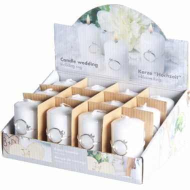 10x bruiloft of huwelijk thema kaarsjes met ring 4 x 7,5 cm