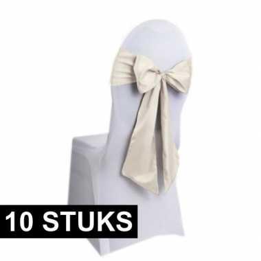 10x bruiloft stoel decoratie creme strikken