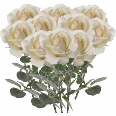 10x creme witte rozen/roos kunstbloemen 37 cm