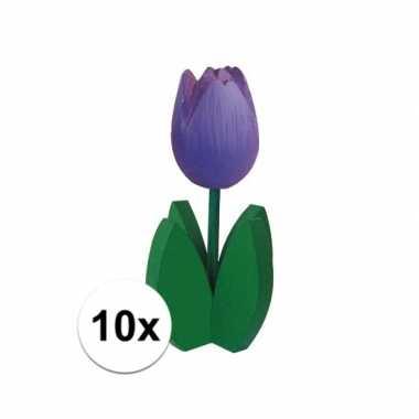 10x decoratie houten paarse tulpen