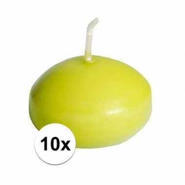 10x drijfkaarsen lime groen 4,5 cm
