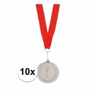 10x feest medailles zilver gekleurd met lint