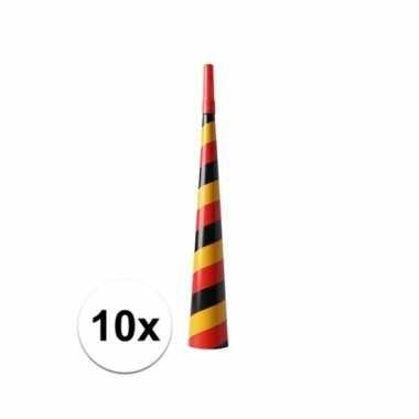 10x feest toeters zwart/rood/geel