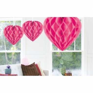 10x feestversiering roze decoratie hart 30 cm