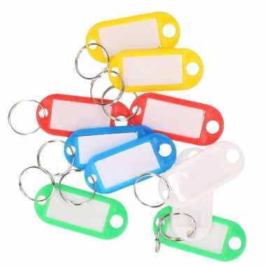 10x gekleurde sleutellabels/sleutelhangers