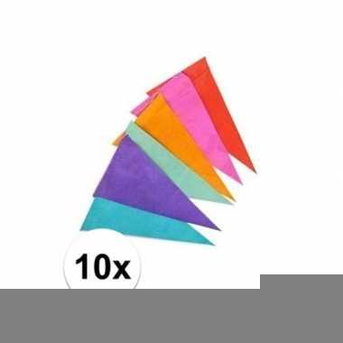 10x gekleurde vlaggenlijnen/vlaggetjes van papier