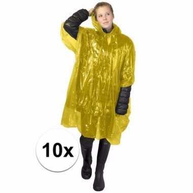 10x gele poncho met capuchon voor volwassenen