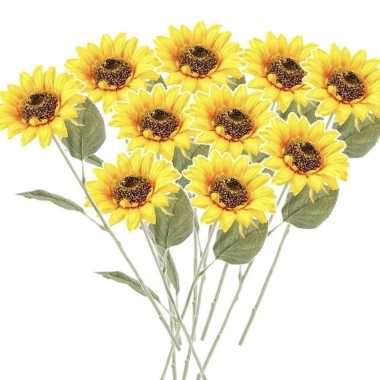 10x gele zonnebloemen kunstbloemen 62 cm