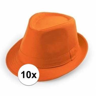 10x goedkope oranje verkleed hoedjes voor volwassenen