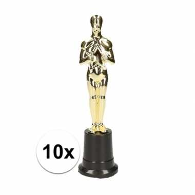 10x gouden filmster beeldje 22 cm