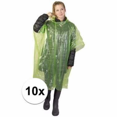 10x groene poncho met capuchon voor volwassenen