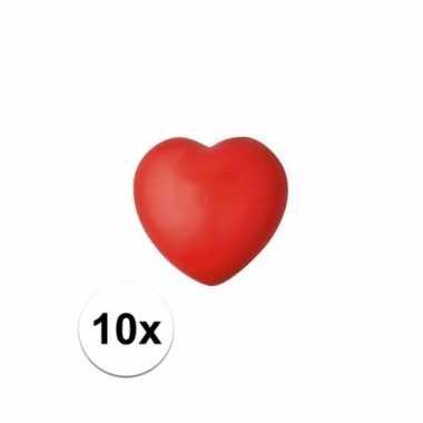 10x hartje stressbal rood 7 cm