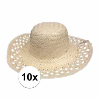 10x hawaii feest hoedje van stro