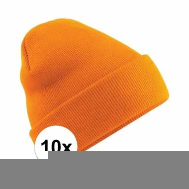 10x heren winter muts oranje