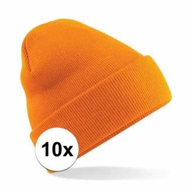10x heren winter schaatsmuts oranje