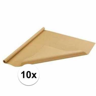 10x inpakpapier/cadeaupapier bruin 500 x 70 cm op rol