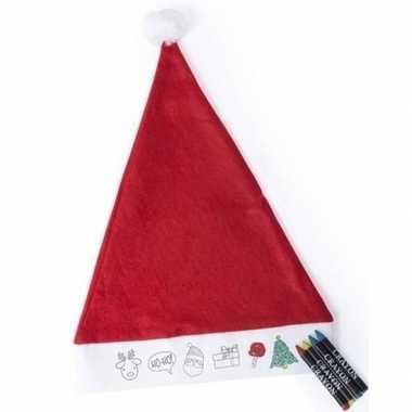 10x kerstmutsen voor kinderen inkleurbaar inclusief waskrijtjes