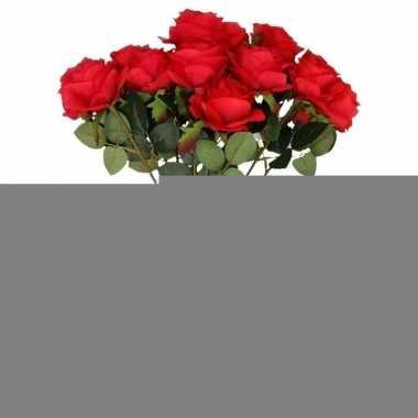10x kunstbloem roos rood