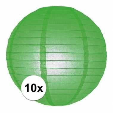 10x lampionnen 25 cm groen