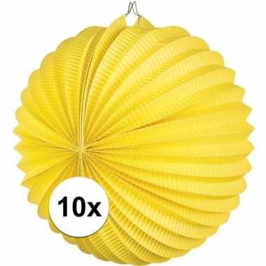 10x lampionnen geel 22 cm