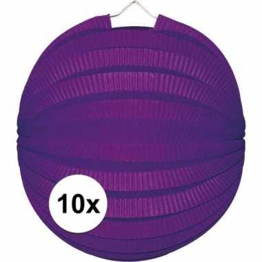 10x lampionnen paars 22 cm