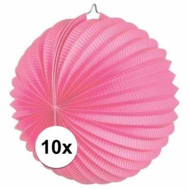 10x lampionnen roze 22 cm