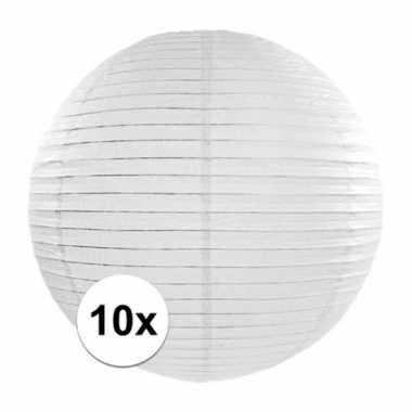 10x lampionnen van 35 cm in het wit