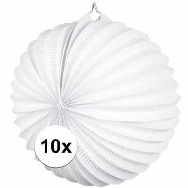 10x lampionnen wit 22 cm