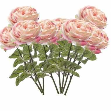 10x lichtroze rozen kunstbloemen 66 cm