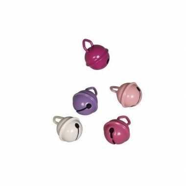 10x metalen belletjes roze mix 15 mm