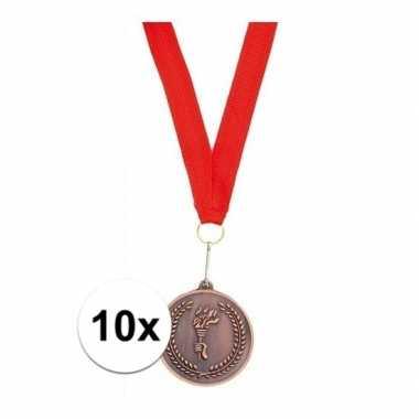 10x metalen medailles brons met lint
