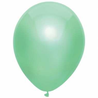 10x mintgroene metallic ballonnen 30 cm
