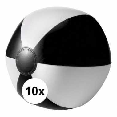 10x opblaasbare speelgoed strandballen zwart