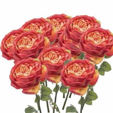 10x oranje rozen kunstbloemen 66 cm