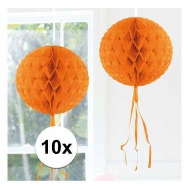 10x oranje versiering bol 30 cm