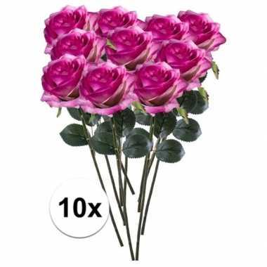 10x paars/roze rozen simone kunstbloemen 45 cm