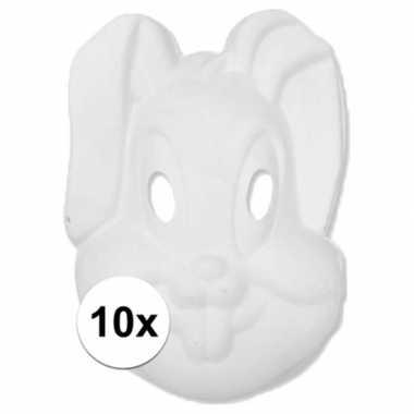 10x papier mache knutsel masker konijn/haas