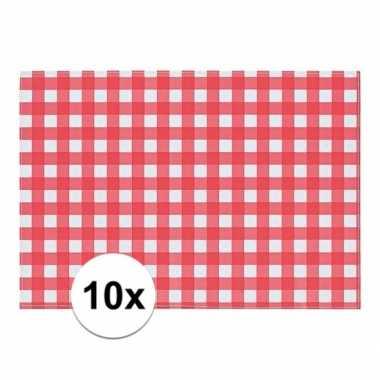 10x placemat rood/wit geblokt 43 x 30 cm